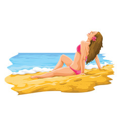 Sexy young woman sunbathing in the beach vector