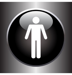 Standing human icon on black button vector