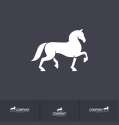 Stylized white horse for mascot logo template on vector