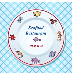 The seafood restaurant menu design vector