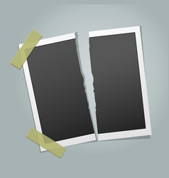Torn instant photo frame vector