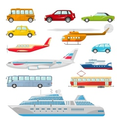 Transport icons flat vector