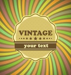 Vintage label on sunrays background vector image