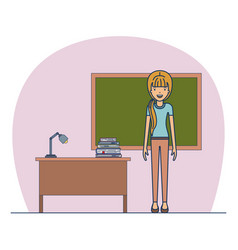 woman teacher in casual wear on classroom with vector image vector image