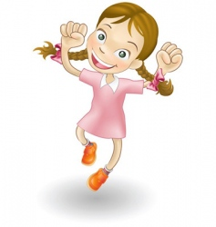 young girl jumping for joy vector image