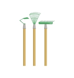 Set of gardening equipment with rake and chopper vector