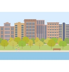 The city park on a background of buildings vector