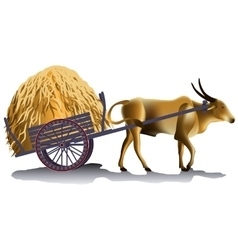 Hayrick in the buffalo cart vector