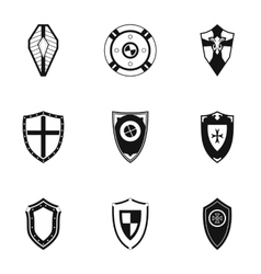 Protective shield icons set simple style vector image
