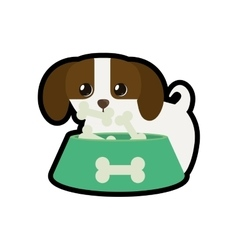 Dog little canine adorable bowl food b print vector