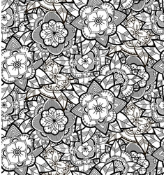 Seamless black and white flower pattern vector