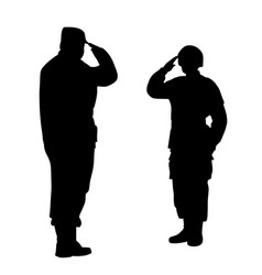 commander and soldier salute each other vector image