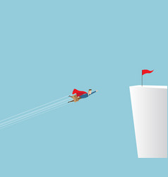Businessman flying to red flag on cliff vector