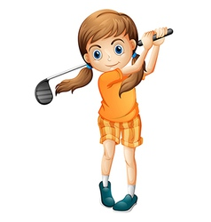 A young golf player vector image