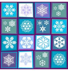 sixteen snowflakes vector image
