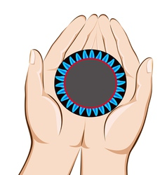 Hands holding a gas burner with a blue flame savin vector