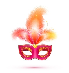 Red isolated carnival mask with feathers vector image