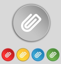Paper clip icon sign symbol on five flat buttons vector