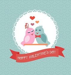 Card for valentines day birds heart label ribbon vector