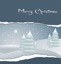 Card with the image of a christmas landscape vector