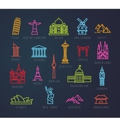 City flat neon icons vector