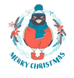 Festive funny merry christmas card with bullfinch vector