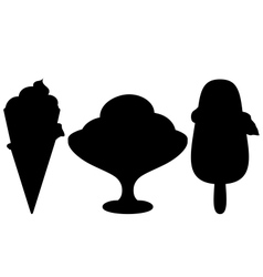 Ice-cream silhouette set vector