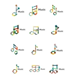 Music note logo set flat thin line geometric vector
