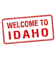 Welcome to idaho red grunge square stamp vector