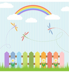Colorful dragonflies and rainbow vector