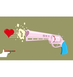 Arms of love Magnum love Colt Gun shoots hearts vector image