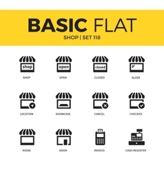 Basic set of shop icons vector
