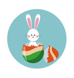 Bunny easter with broken egg colo vector