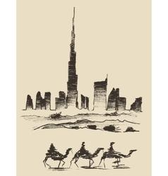 Caravan of camels dubai city skyline silhouette vector