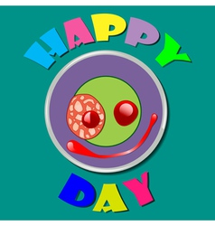 Comic purple plate happy day vector