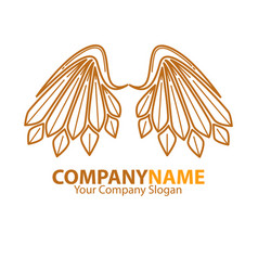 company name emblem with angel brown wings vector image