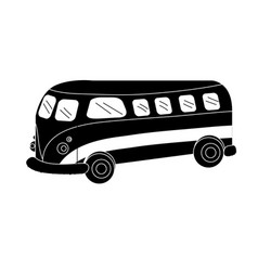 Contour retro hippie bus transportation with vector