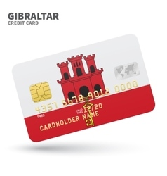 Credit card with gibraltar flag background for vector