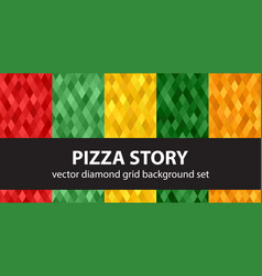 diamond pattern set pizza story seamless vector image vector image