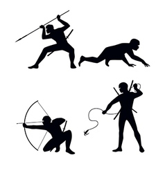 four ninja silhouettes vector image vector image