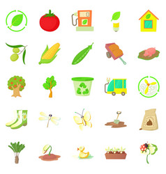 fruit growing icons set cartoon style vector image