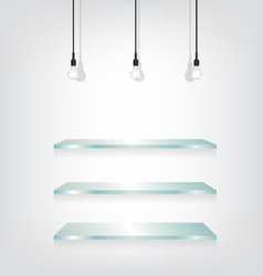 Glass shelves and bulb vector