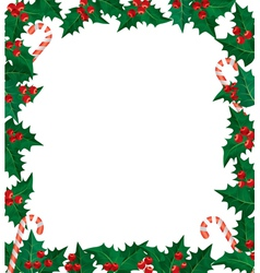 Holly berries frame vector image vector image