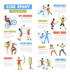 Kids sport infographics set vector