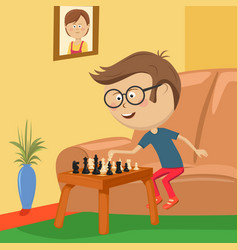Little boy with glasses playing chess in room vector