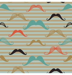 Mustache seamless pattern in vintage style Pattern vector image