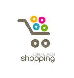 Online shop mall market concept cart logo design vector