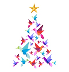 Origami hummingbirds Christmas tree vector image vector image