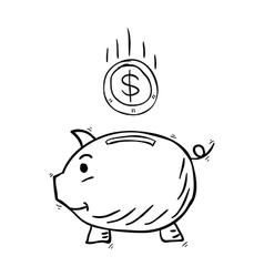 piggy bank hand drawn vector image