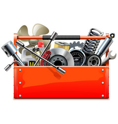 red toolbox with car parts vector image